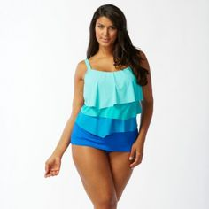 6043b916637 Tiers of fluttery color-blocked ruffles add dimension to the front of our Coco  Reef Plus Size Aura Ruffle Bra Sized Underwire Tankini top.