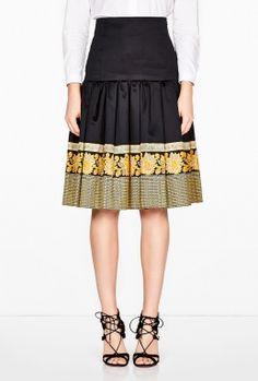 Ruffle Hem Russian Paisley Border Skirt by Suno