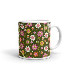 Flower Power Mug Coffee Cup Ceramic Tea Time Dishwasher image 0 Rude Mugs, Funny Mugs, Funny Gifts, Lion Birthday, Happy Birthday Kids, Sweet Coffee, Diy Mugs, Bold Prints, New Home Gifts