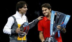 #Rogerfederer and Rafael Nadal at the World Tour Finals