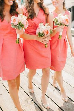 Coral and Green Spring Wedding Color Ideas: White bridal gown, Coral bridesmaid dresses, Coral and green wedding arch and Spring Green lawn, neutral table linens with coral napkins and gold or silver tableware. Simple Bridesmaid Bouquets, Peach Bridesmaid Dresses, Wedding Bouquets, Wedding Dresses, Coral Bridesmaids, Bridemaid Bouquet, Bridesmaid Color, Coral Wedding Flowers, Anemone Wedding