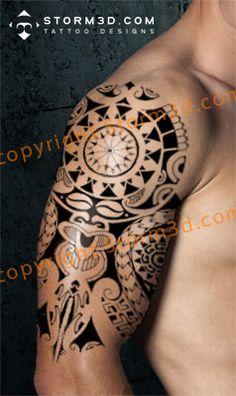Tribal Tattoo Pictures, Aztec Tribal Tattoos, Tribal Shoulder Tattoos, Mens Shoulder Tattoo, Picture Tattoos, Polynesian Tattoo Designs, Maori Tattoo Designs, Mask Tattoo, Arm Band Tattoo