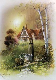 Dyskusja na liveinternet - Rosyjski serwis internetowy Diaries Art Et Nature, Image Nature Fleurs, Landscape Art, Landscape Paintings, Pintura Colonial, Painting & Drawing, Watercolor Paintings, Art Vintage, Cottage Art