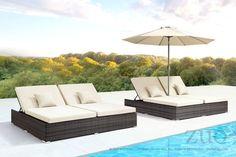 Zuo Modern Siesta Key Double Chaise Lounge Brown