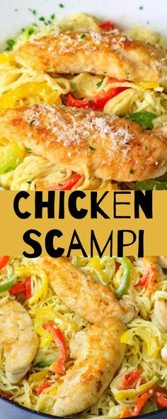 This chicken scampi is a delicious chicken pasta dish that is very easy and quick to make. Its loaded with crisp peppers, garlic, and a creamy white wine sauce. #simplyhomecooked #scampi #chicken #chickenscampi #dinner #pastadinner #scampirecipe Chicken Pasta Dishes, Easy Chicken Dinner Recipes, Recipes Dinner, Chicken Scampi Recipe, Chicken Piccata, Easy Healthy Recipes, Quick Easy Meals, Grilled Side Dishes, Wine Sauce