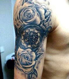 Bicep Tattoos Of Clocks For Men