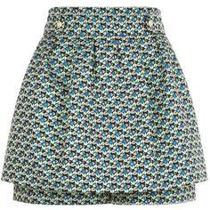 Maje Jacquard Floral Skort (845 PEN) ❤ liked on Polyvore featuring skirts, mini skirts, pleated mini skirt, floral print skirt, metallic mini skirt, green skirt and floral mini skirts