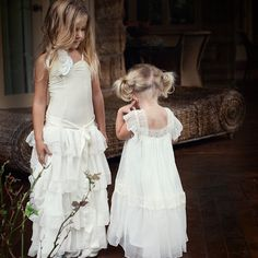 One of our fave pics.. our Alice Dress + Olive Dress #flowergirl #teaprincesssilkcollection #sisters