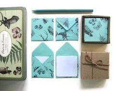 Aqua Green Flora and Fauna Mini Stationery Set. $9.00, via Etsy.