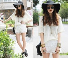 Http://Www.Oasap.Com/Shorts/3999 Elegant Eight Layer Lace Embellished Shorts.Html Lace/Ruffle Shorts, H Loose Sweater, H Sandal Wedges, Asos Floppy 70's Felt Hat