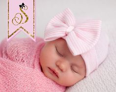 NEWBORN GIRL take home hat/ Newborn Beanie / White by SkylarnMe