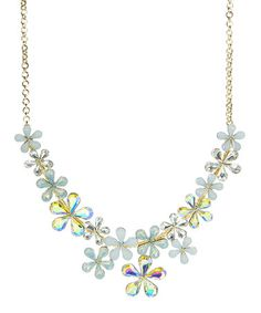Look at this #zulilyfind! Crystal & Gold Floral Bib Necklace #zulilyfinds - by Stella + Ruby