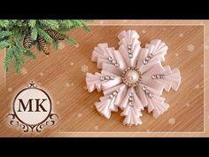 Простая снежинка из лент. МК. Канзаши. / DIY. Kanzashi. Ribbon snowflake. - YouTube