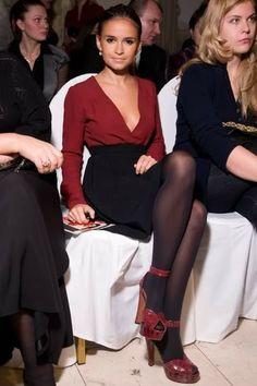 Miroslava Duma - petite style, red and black