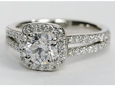 For lovers of #platinum: Split Shank Cushion Halo Engagement Ring from @Shan @ Red Queen Miscellanea Nile