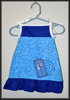 Doctor Who Tardis Blue Flannel Dress with Blue Cotton - Geek-a-bye Baby Clothing - Sci-Fi Geek - Available in Many Sizes. $25.00, via Etsy.