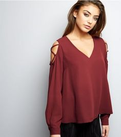 Burgundy V Neck Lattice Trim Cold Shoulder Top  | New Look