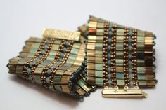 Tila Bead Cuff Bracelet with Swarovski Crystal and Seed by Xazzles, $39.00