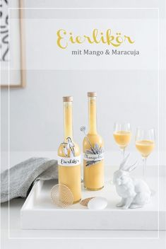 Creamy eggnog with mango and passion fruit - Kreativ-welt.de - This post was originally published on this page I admit: a little retro is eggnog. Passion Fruit Juice, Mango, Homemade Lemonade, Wine Parties, Cocktails, Drinks, Diy Blog, Creative Food, Liquor