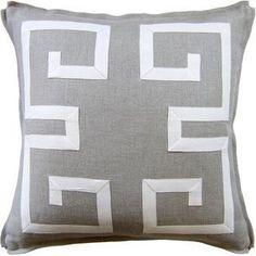 Greek Key Fretwork pillow, Shop Greige