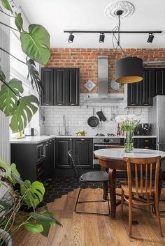 19 Ideas Kitchen Tiles Brick Interior Design For 2019 Industrial Home Design, Industrial Interiors, Vintage Industrial, Industrial Style, Kitchen Industrial, Industrial Lighting, Industrial Office, Industrial Furniture, Brick Interior