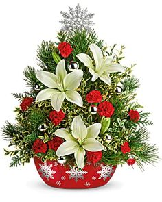 Christmas Flowers Delivery Louisa KY - Farmhouse Memories Christmas Train, Little Christmas, Christmas Fun, Christmas Wreaths, Christmas Decorations, Send Flowers Online, Fresh Flowers Online, Flowers Today, Christmas Flower Arrangements