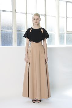 IRIS Cape-like top in a cotton blend with a gathered neckline, chiffon angel sleeves and cut-out details.  High waist maxi skirt with a knee high front slit and side zip closure. http://www.lui-s.co/ #MakersAndDoers #inspiration #fashion