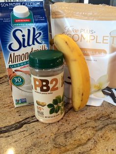 My favorite post workout shake!  Ingredients:  1 cup of unsweetened almond milk (original or vanilla)  1 scoop of Juice Plus Complete protein powder (French vanilla)  1 1/2 tablespoons of PB2  1/2 banana