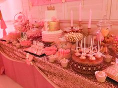 Sweet 16 Princess Candy Dessert Buffet Pink