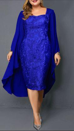Plus Size Chiffon Cardigan and Sleeveless Royal Blue Lace Dress Royal Blue Lace Dress, Plus Size Lace Dress, Plus Size Dresses, Dresses For Sale, Dress Lace, Chiffon Dress, Turquoise Lace Dresses, Chiffon Cardigan, Blue Cardigan