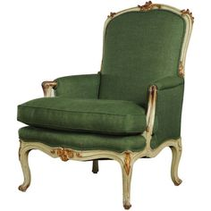 Carl Moore Antiques - Louis XV style painted and gilded bergere from France c. 1850 - 1stdibs found on Polyvore featuring furniture, chairs, home, fillers and harry potter