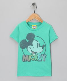 Love this Light Green Mickey Mouse tee for kids