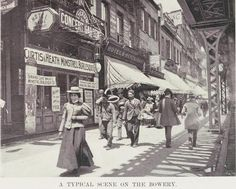 The Bowery, under the shadow of the elevated train tracks in New York City, bustled at night with colored lights and cane-swirling barkers, in places such as the Lyceum Concert Garden. Vintage New York, Vintage Italian, Photos Vintage, Old Photos, Vintage Stuff, New York Police, Under The Shadow, New York Photos, Historical Photos