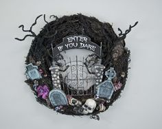 """Katherine's Collection Forest Cemetery Collection 24""""D """"Enter If You Dare"""" Wreath Free Ship"""