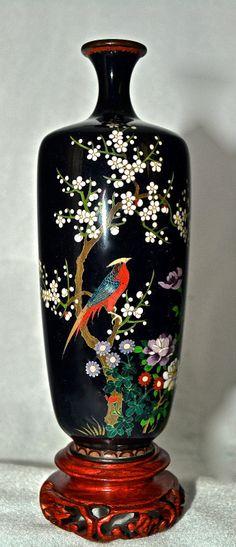 Antique Fine Silver Wire Japanese Meiji Cloisonne Vase Bird of Paradise | eBay