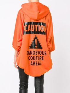 Moschino caution print hoodie