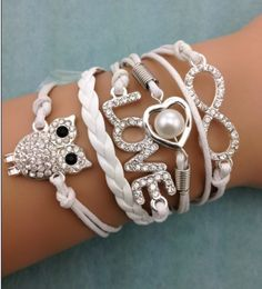 Shop Women's Fashion White Silver size OS Bracelets at a discounted price at Poshmark. Description: Rhinestone Cord Owl Bracelet Feature the beautiful infinity, owl, love, and heart. Diy Leather Bracelet, Owl Bracelet, Cord Bracelets, Infinity Bracelets, Bracelet Men, Pandora Bracelets, Pearl Bracelet, Bracelet Watch, Cheap Fashion Jewelry