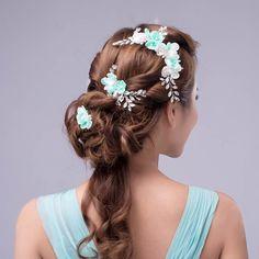 White Jade Handmade Flower Bridal Hair Combs Pearls Crystal Hair ...