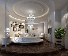 Round Patterned Circle Ceiling in Bedroom in a House, Markham