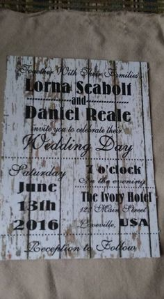 50 Wedding Invitations Rustic Wood white peeling subway art