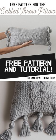 Free Crochet Pattern for Cable Crochet Pillow - Megmade with Love Crochet Afghans, Crochet Cable, Crochet Cushions, Crochet Stitches, Free Crochet, Crochet Cardigan, Cable Knit, Knitting Patterns, Crochet Patterns