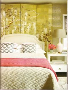Love the folding screen Betsy Burnham added behind the bed
