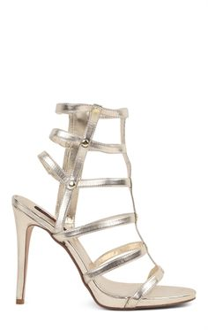 Deb Shops open toe metallic gladiator high heel $29.17