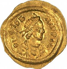 Előlap bizánci arany Tremissis Maurice Tiberius