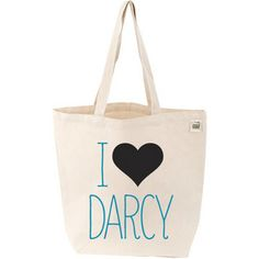 I Love Darcy Tote  A stylish tote for carrying your favorite books! And who doesn't love Mr. Darcy?    Natural cotton bag measures 16 inches wide by 15½ inches tall with a generous 5 inch gusset and 22 inch handles.