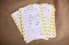 Backyard Bridal Shower, Bridal Shower Mad-libs, Pink and Yellow Party Decor, http://www.lizandryan.com