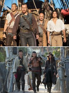 It's like they're preparing to have a dance off and just West Side Story this bitch Billy Bones, Hannah New, Black Sails Starz, Charles Vane, Golden Age Of Piracy, Tom Hopper, Captain Flint, Toby Stephens, Pirate Adventure