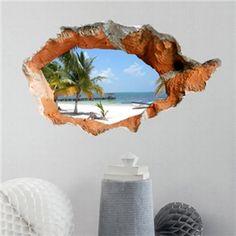 (EU Lager) 3D Wandtattoo-Strand Landschaft-PVC Fototapete