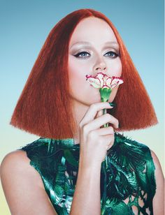 Katy Perry tries on a geometric hairstyle in Wonderland Magazine