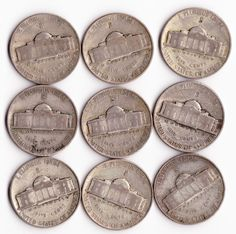 Nine 1943 Silver Wartime Nickels.....Dad was a Depression Era kid...he was fond of saying that he never had two nickels to rub together.